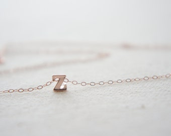 "Rose Gold Letter, Alphabet, Initial  ""z"" necklace, birthday gift, lucky charm, layered necklace"