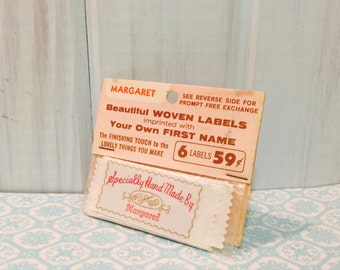 Vintage Hand Made  Label ~ Sewing Label ~ Hand Made Label ~ Hand Knit by Margaret ~ Woven Label ~ 6 Labels
