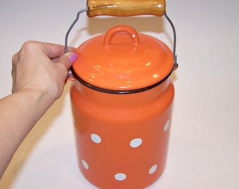 2.6 Liter Enameled Milk Can with a Lid and a Wooden Handle. Orange and White Polka Dot Milk Jar. Soviet Cream Can. Farmhouse Decor.