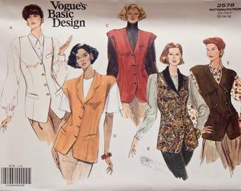 Vogue 2578 Sewing Pattern Vintage 1990s Misses' Vest Variations Shawl Collar Double Breasted Welt Pockets Vogue's Basic Design UNCUT 12-16