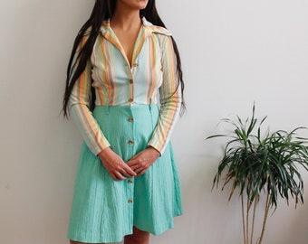 70s Mint Candy Striped Dress