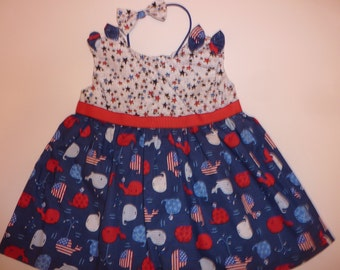 Red White and Blue Whales Infant Dress