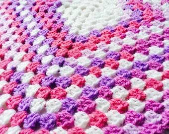 White/Purple/Pink Baby Blanket