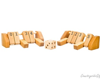 Number Game - Hardwood Number Matching Game, Educational Toy, Counting and Numbers, Natural and Organic Handmade