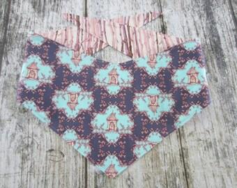 XL Kanine Kerchief reversible tie on dog bandana- purple cottage/lavender trees