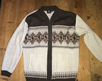 Tootal Vintage zip front cardigan jacket brown & cream size M pockets