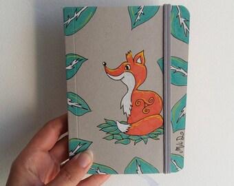 Carnet de notes, cahier moleskine, cahier renard, carnet renard, renard, triskel, illutration renard, dessin renard, celtique, carnet A6,