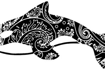 Mandala Zen Tangle Orca SVG