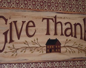 Folk Art Primitive Hand-Painted Wood Give Thanks House Thanksgiving Plaque