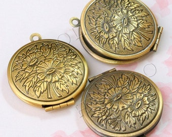 24pcs antique brass finish filigree round lockets (BN141) and register air mail