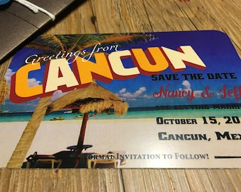 Vintage Post Card Save The Date -- Cancun Post Card  -- Save The Date