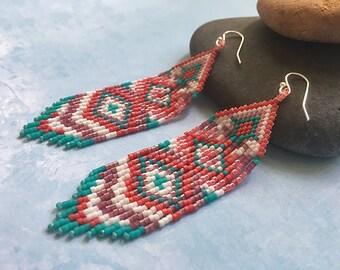 Long fringe earrings Colorful statement earrings Long native earrings Native style earrings Long beaded earrings Long ethnic earrings