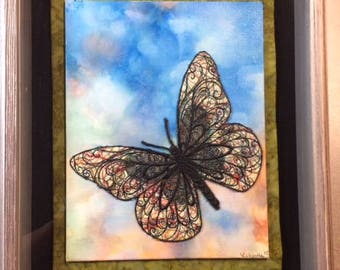 Thread Embroidered Butterfly on Acrylic Painted Canvas Framed