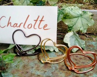 Mini heart place name card/photo holders any quantity
