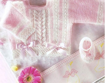 PDF Knitting Pattern for Baby Pink  and White Outfit in Bobble Stitch/Newborn/ Instant Download/Knitting Pattern- 789