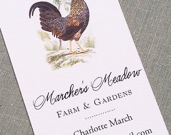 Farm Rooster Chicken Business Card , Set of 50