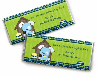 24 Boy Blue Puppy Custom Candy Bar Wrappers - Personalized Baby Shower and Birthday Party Favors