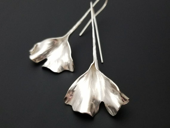 Silver ginkgo leaf earrings- dramatic and elegant - art nouveau style jewelry - handmade to order in Michigan