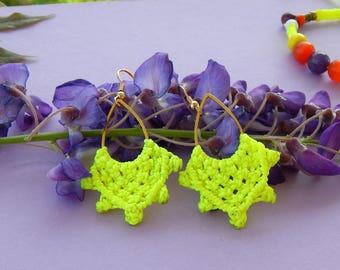 Earrings golden yellow neon boho