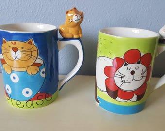 Indra Cat mugs! Hand painted. Beautiful