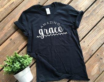 Amazing Grace Shirt | Women's Christian Tee Shirt | Christian Shirt | Inspirational shirt | Soft T-Shirt