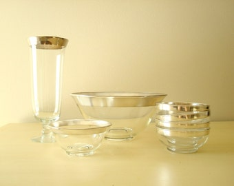 Dorothy Thorpe Allegro silver band glass salad bowl & sauce bowl, 4 small salad bowls, vase, mid-century modern classic, instant collection
