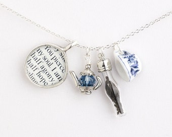 Jane Austen Persuasion - Literary Tea Necklace - Literary Jewelry - Jane Austen Jewelry - Literary Gifts For Book Lovers