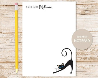 personalized notepad . black cat notepad . cat note pad . personalized stationary . stationery gift . siamese cat