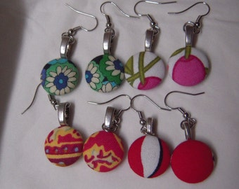 Sweet fabric cabochon earrings