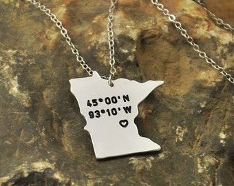 Minnesota  necklace Latitude Longitude Necklace Coordinate  925 sterling silver  necklace state necklace map necklace state charm