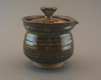 Shiboridashi Teapot (170ml.),  iron-rich stoneware w/ teadust tenmoku and iron red glaze glaze
