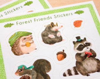 Cute Stickers - Forest Woodland Animals - Sticker Sheets, Glossy Stickers, Planner Stickers, Animal Stickers, Chubby Bird, Fox, Hedgehog