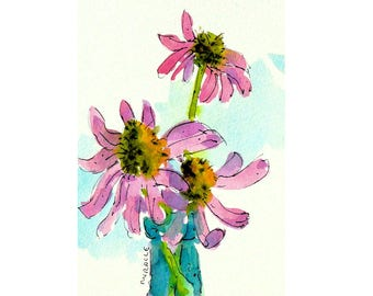 Purple Cone Flower, vertical, original, watercolor, pen and ink, 10 x 8, matted, ready to frame, mom gift, white mat, friend gift, summer