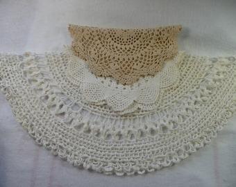 3 Vintage Cotton Crocheted Doilies