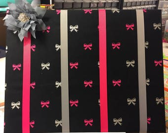 Pink, Black, and Grey Bow Holder, Bow Board, Bow Organizer