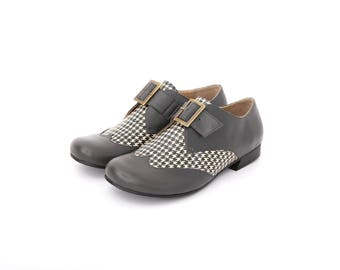 Women's oxfords shoes gray and Houndstooth Leather , handmade wide flats ADIKILAV free shipping
