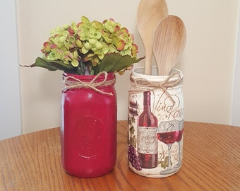 Red Wine Grapes Bottle Mason Jar Set, Mason Jar Vase Centerpieces, Party Decorations Centerpieces, Decoupage, Painted, Utensil Holder, Party