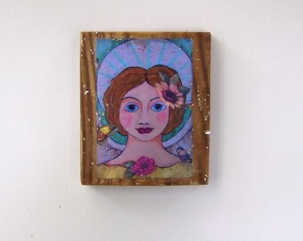 "Folk Art Angel Encaustic Woodblock Print 6 1/2"" x 5 1/2"""