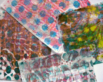 Original Handmade Gelli Print Collage Artist Papers for Mixed Media and Art Journaling 1203_06