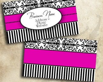 Elegant Pink Fuschia Black & White Damask Business Card Template Digital INSTANT DOWNLOAD 3.5 x 2 Inches Calling Card (BC25)