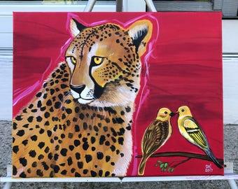 Cheetahs Never Prosper. Original acrylic wildlife painting by Michigan artist Dennis A!