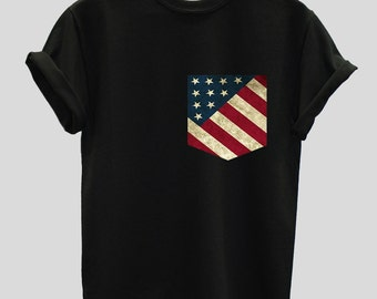 American USA Flag Print Pocket T-shirt Shirt Top Tee Hipster Indie Swag Dope Hype Black White Mens Womens Cute Pocket Shirt