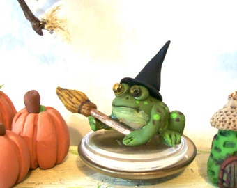 Wee Witchy Toad, Miniature Frog, Haunted Dollhouse, Artisan Handmade, Halloween Decor, Artisan, Fantasy Creature, Garden Toad
