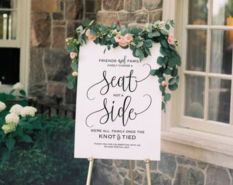 Choose a Seat not a Side Sign, Choose a Seat Sign, Welcome Wedding Sign, Wedding Sign, Wedding Printable, PDF Instant Download #BPB203_76