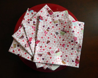 Hearts and Cupcakes Napkins. Set of 4. Pink, Red and Purple. Dessert Napkins. Great Bridal Shower or Birthday Gift