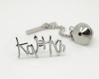 Personalized Tie Tack Pin, Handwriting Jewelry for Men, Personalized Mens Gift, Custom Tie Pin For Him Boyfriend Husband