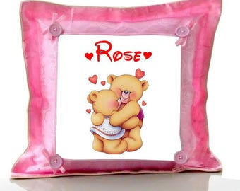 Cushion Pink Teddy bear personalized with name