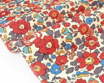 Liberty fabric Liberty, Liberty BETSY, Liberty Betsy fabric, BETSY TERRACOTTA printed Liberty Betsy red, grey Betsy, fabric, sewing