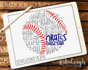 Messy Pirates Baseball INSTANT DOWNLOAD in dxf, svg, eps for use with programs such as Silhouette Studio and Cricut Design Space