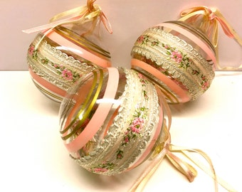 Ornaments, Hand Decorated And Hand Blown Vintage Christmas Ornaments